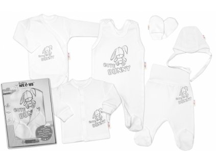 Baby Nellys Velká sada do porodnice CUTE BUNNY, 6-ti dílná v krabičce - bílá (Velikost koj oblečení 62 (2-3m))