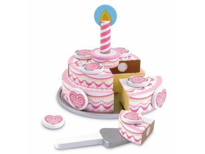 810876 melissa doug dvouvrstvy dreveny narozeninovy dort na hrani ruzovy