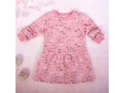 K-Baby Dívčí bavlněné šaty, Kvítky - pudrově růžová, vel. 74 (Velikost koj oblečení 74 (6-9m))