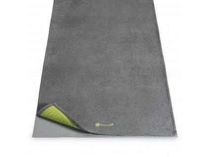 Protiskluzový ručník Yoga Mat Towel Grippy Grey - GAIAM (barva šedá)