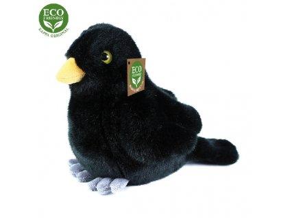 847371 4 plysovy ptak kos stojici 20 cm eco friendly
