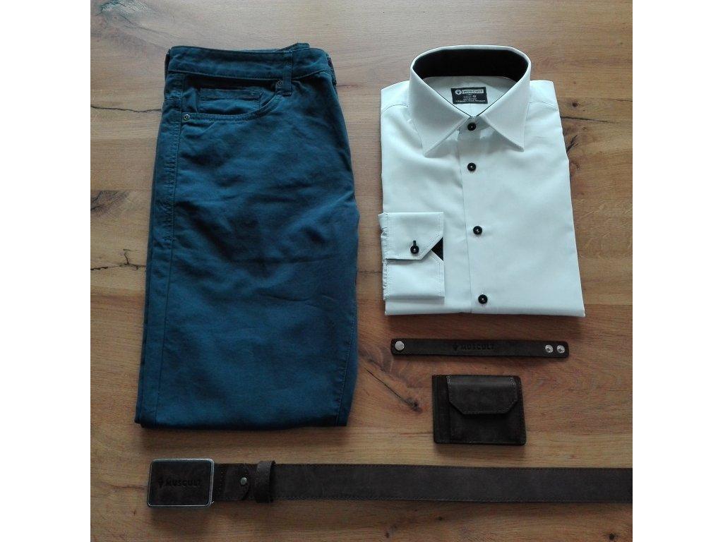 Bílo-černá košile - MUSCULT f888d5a7c6