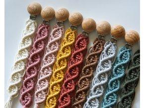 Makramé klipy na dudlík/více barev
