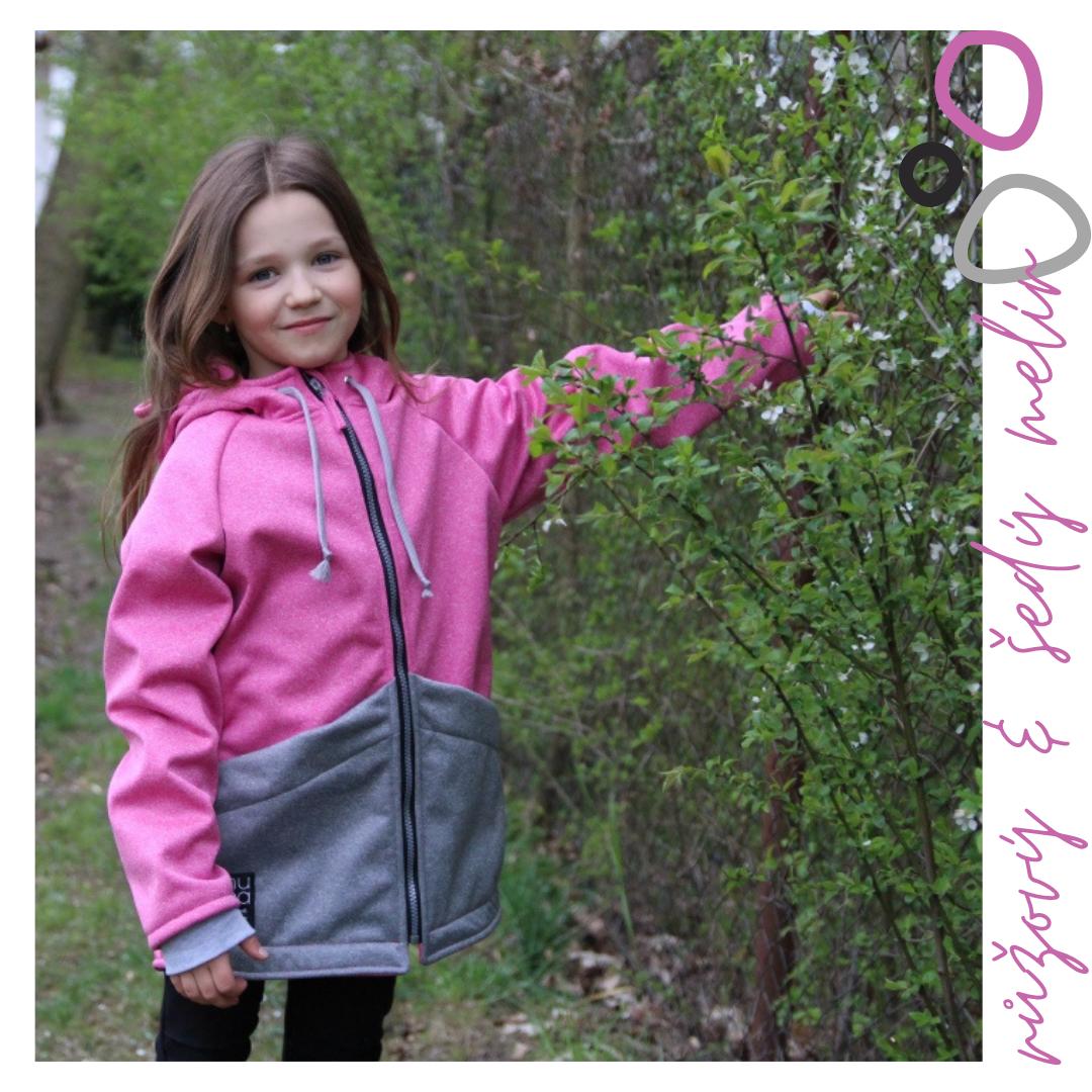 Softshellová bunda růžovošedý melír