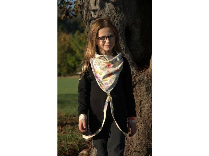 Dívčí kabátek z teplákoviny sv.růžová/květiny