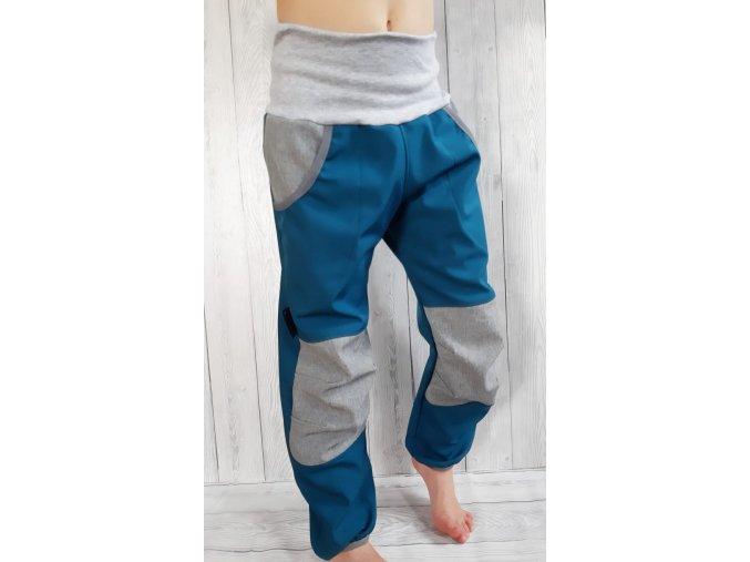 Kalhoty petrolejová/šedá