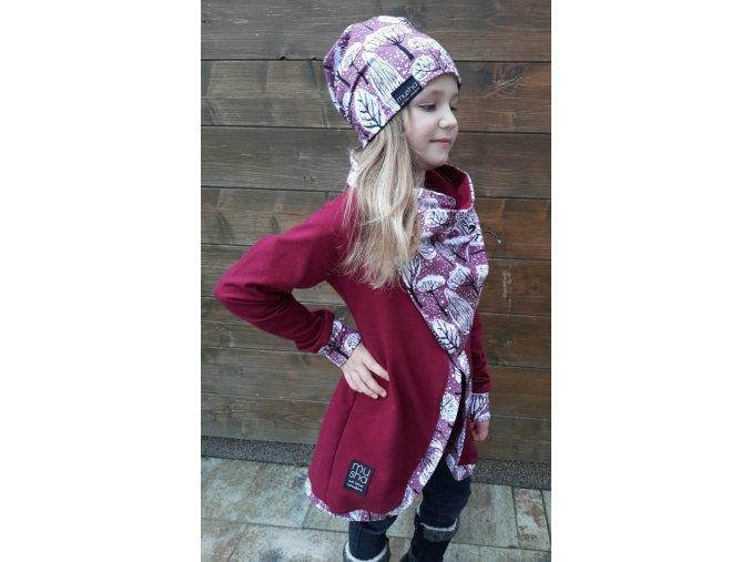 Dívčí kabátek z teplákoviny vínová/zimní vzor