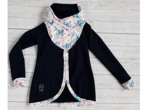 Dívčí kabátek z teplákoviny tm.modrý/květiny