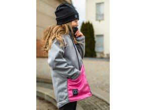 """Dívčí bunda """"CITY LOOK"""" šedá melír/růžová"""