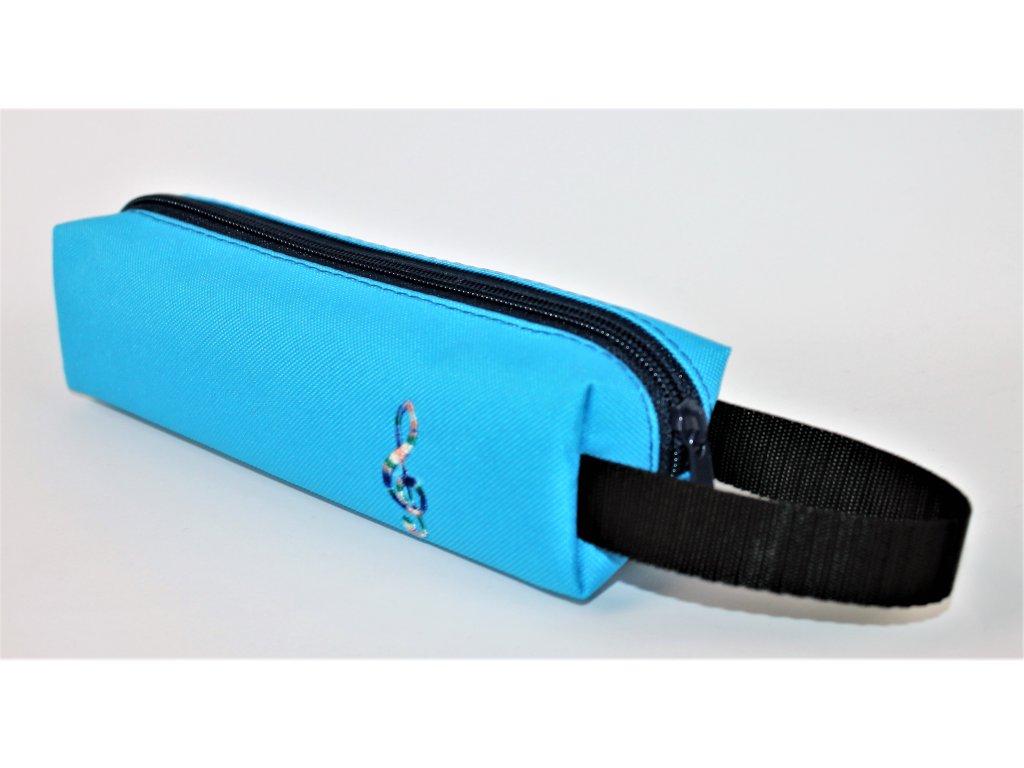 malé modré pouzdro multicolor výšivka vel. 20 x 5,5 x 5,5