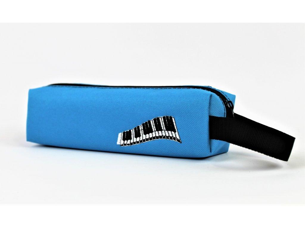malé modré pouzdro výšivka piano vel. 20 x 5,5 x 5,5