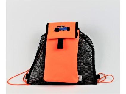 síťovaný baťůžek/pytlík na přezůvky/tělocvik/sport - PEDRINO (ORANŽOVÁ FORMULE)