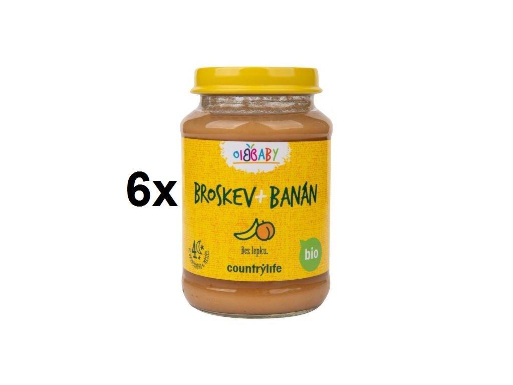 Příkrm broskev, banán 6x190 g BIO COUNTRY LIFE
