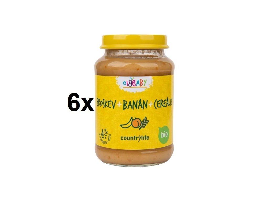 Příkrm broskev, banán, cereálie 6x190 g BIO COUNTRY LIFE