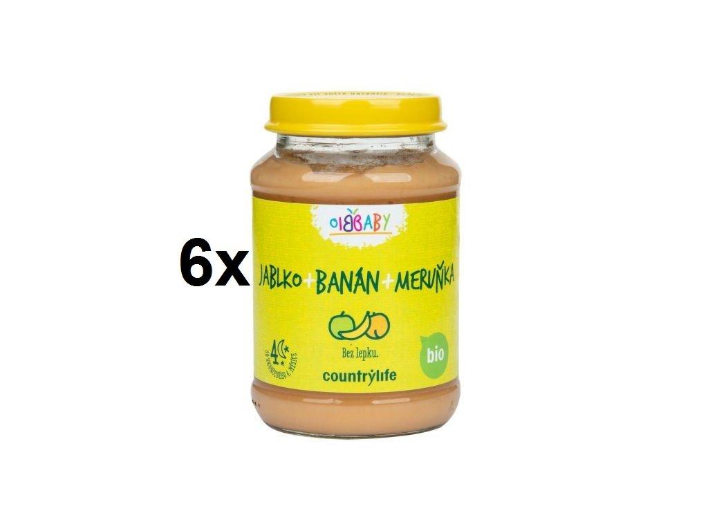 Příkrm jablko, banán, meruňka 6x190 g BIO COUNTRY LIFE