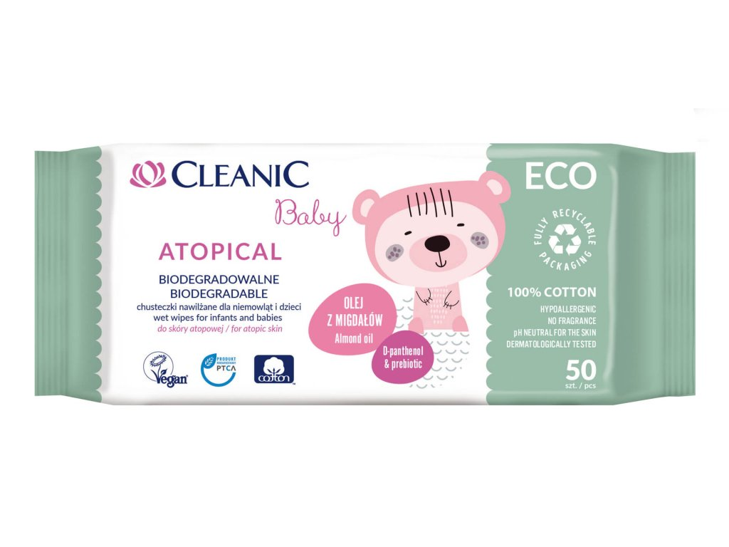 Cleanic baby Vlhčené ubrousky Atopical ECO 50 ks