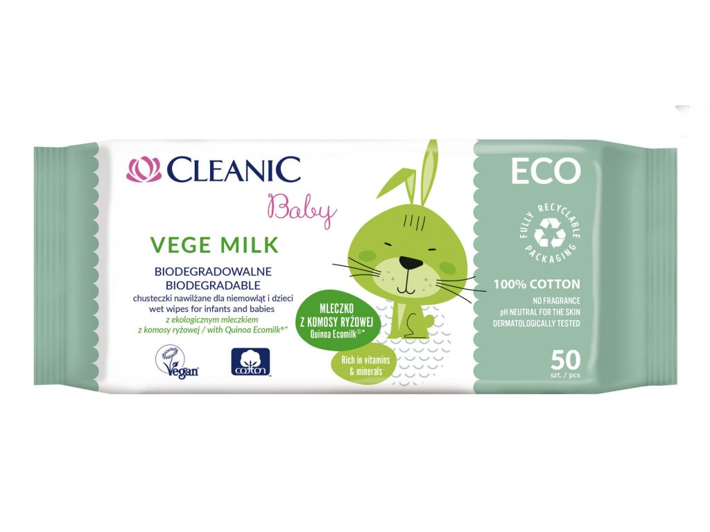 Cleanic baby Vlhčené ubrousky Quinoa Ecomilk ECO 50 ks