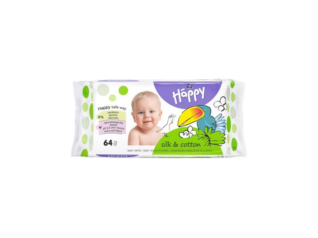 Happy baby čistící ubrousky hedvábí a bavlna 64ks
