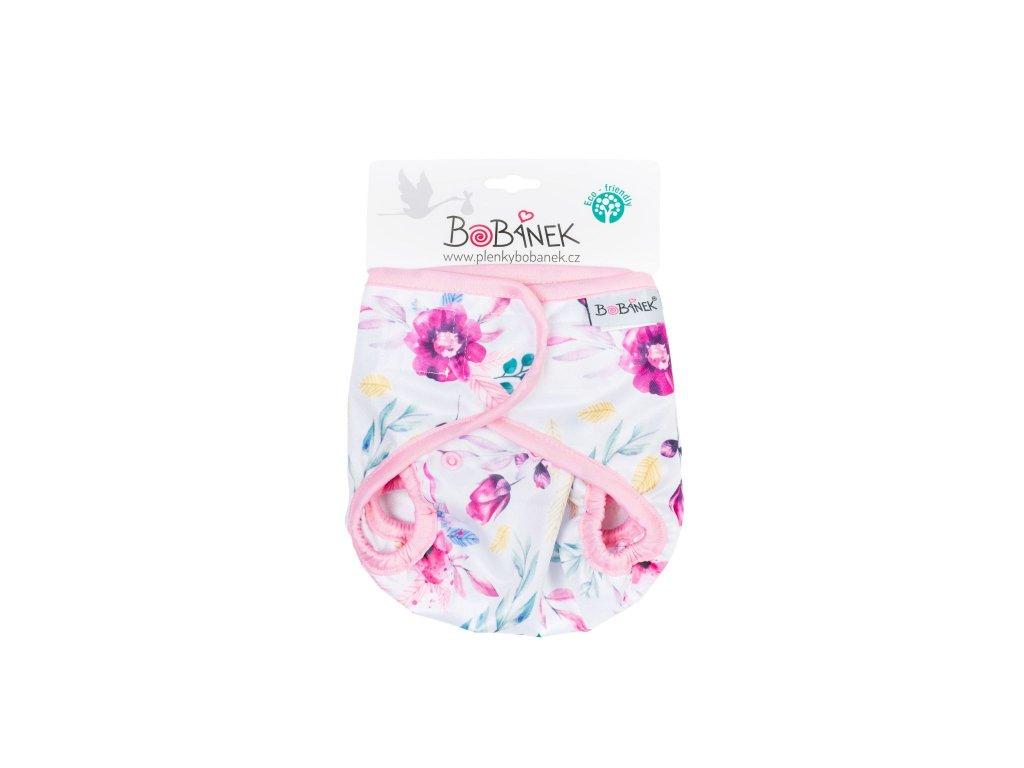 Bobánek Svrchní kalhotky suchý zip - Růžové květiny