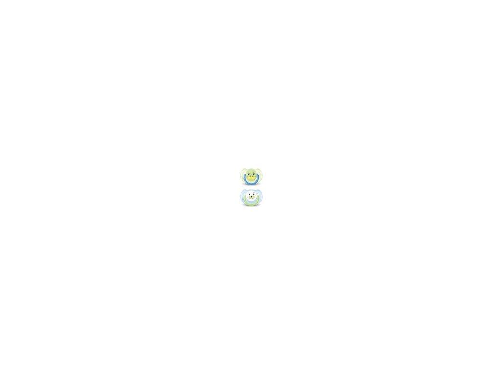 Šidítko Avent 2ks modro zelené se zvířátky 6 18m
