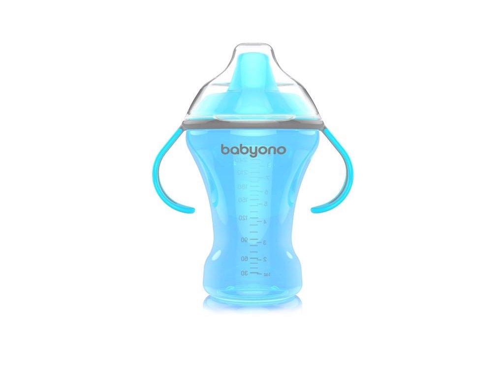 BABYONO Hrnek netekoucí s tvrdým náustkem Natural nursing 260 ml modrý