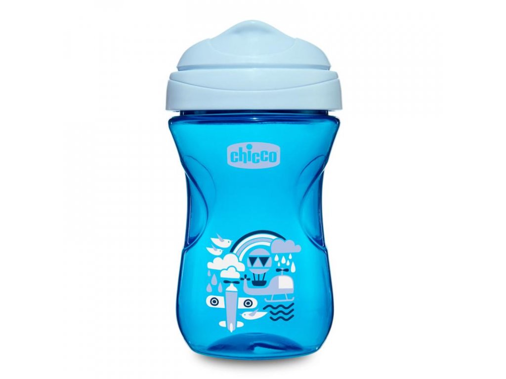 CHICCO Hrníček Easy s tvrdým pítkem 266 ml, modrý 12m +