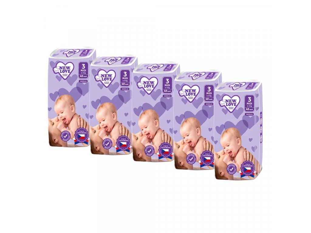 MEGAPACK Dětské jednorázové pleny New Love Premium comfort 3 MIDI 4 9 kg 5x48 ks