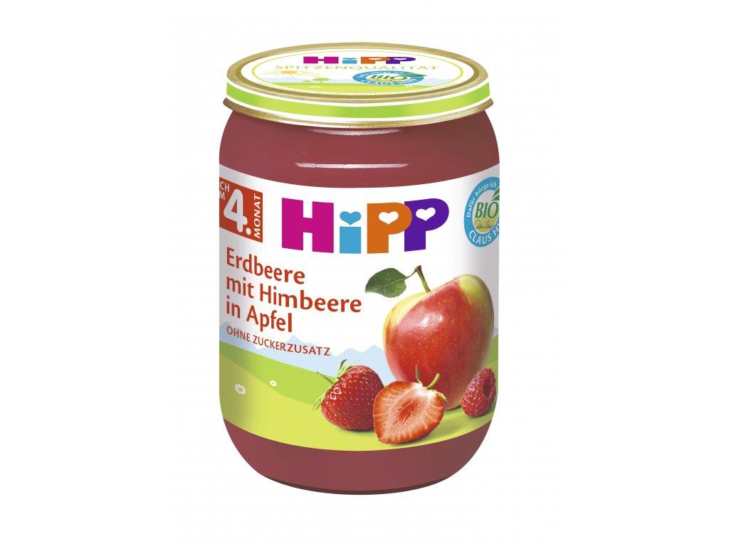 Příkrm Hipp BIO jablka s jahodami a malinami 190g
