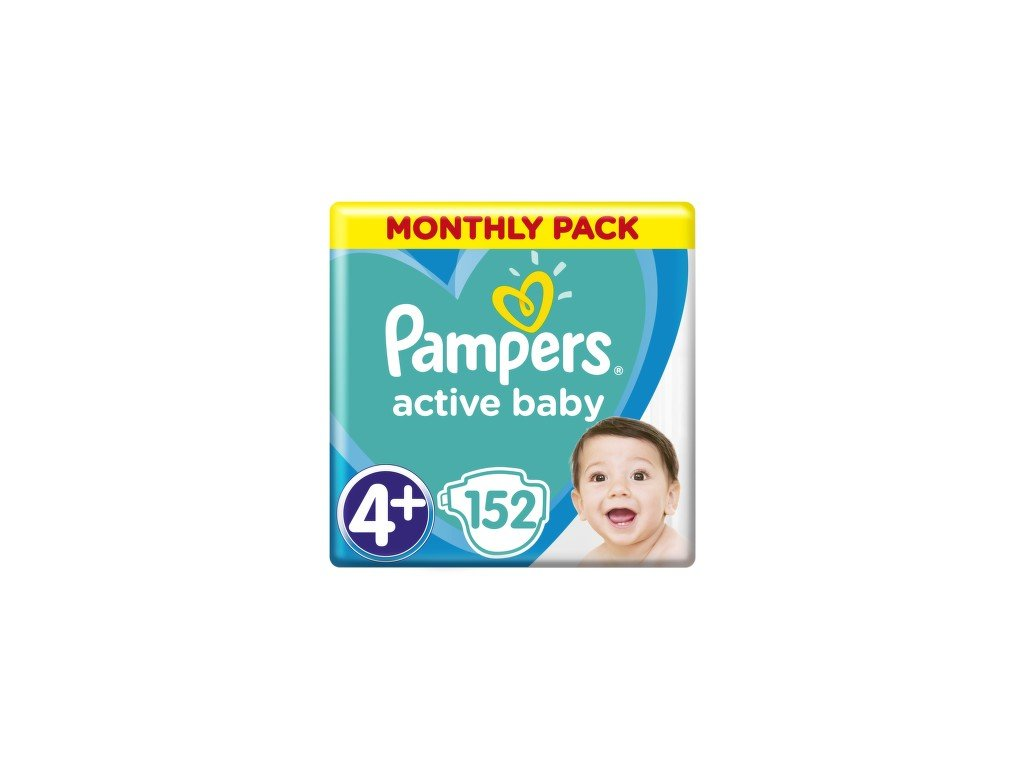 Pampers Active Baby Monthy Box S4+ 9-16 kg 152 ks