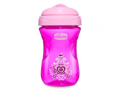 CHICCO Hrníček Easy s tvrdým pítkem 266 ml, růžový 12m +