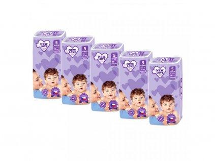 MEGAPACK Dětské jednorázové pleny New Love Premium comfort 5 JUNIOR 11 25 kg 5x38 ks