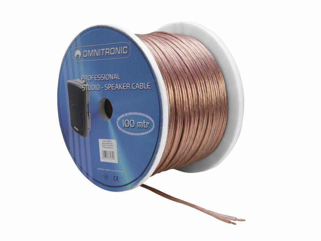 Omnitronic reproduktorový kabel 2x 2,5 mm, transparentní, 100 m, cena/m