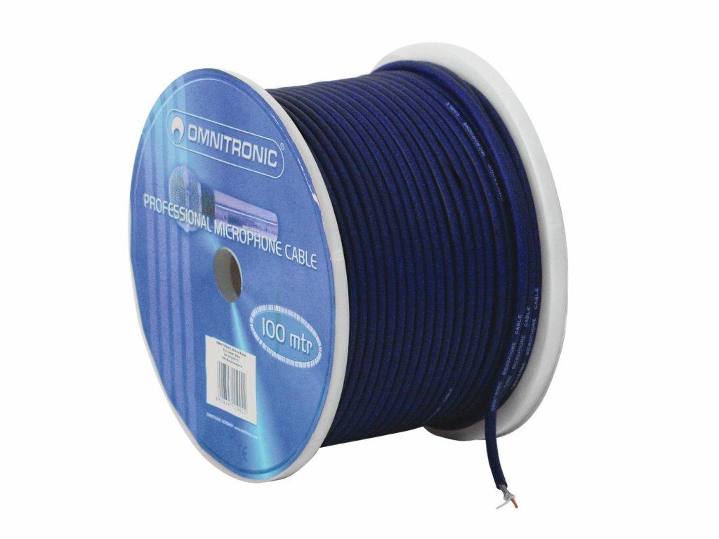 Omnitronic mikrofonní kabel, 2x 0,22qmm stíněný, modrý, cena / m