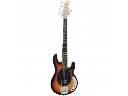 Dimavery MM-505, elektrická baskytara pětistrunná, sunburst