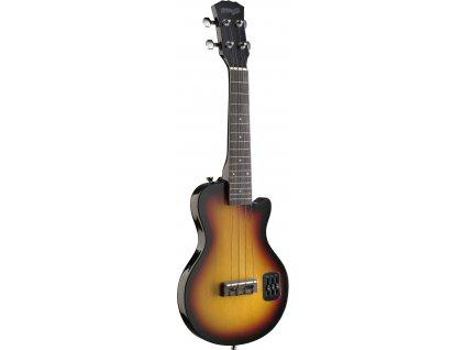 Stagg EUK L-SB elektrické ukulele, typ Les Paul