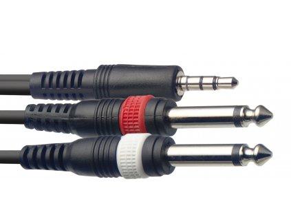 Stagg SYC3/MPS2P E, kabel mini stereo JACK/2x JACK, 3m