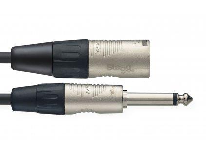 Stagg NAC3PXMR, propojovací kabel XLR zástrčka - Jack 6,3 mm mono, 3m