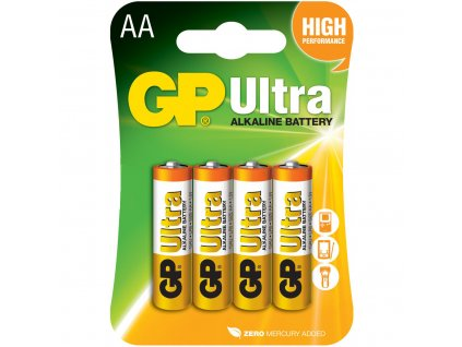 GP Ultra AA baterie, 1.5V alkalické, 4ks