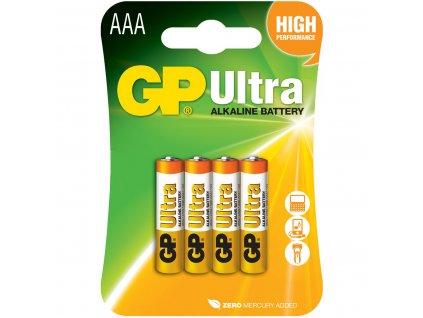 GP Ultra AAA baterie, 1.5V alkalické, 4ks