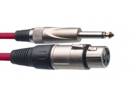 Stagg SMC6XP CRD, kabel mikrofonní XLR/Jack, 6m, červený