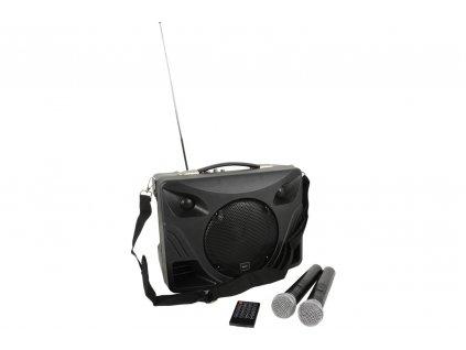 QTX Delta-50, přenosný řečnický systém MP3/BT/FM/2x VHF, 50W