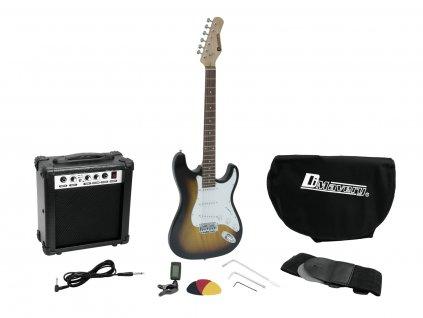 Dimavery EGS-1, elektrická kytara s kombem a příslušenstvím, sunburst