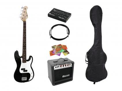Dimavery BGS-10B, elektrická baskytara s kombem a příslušenstvím, černá