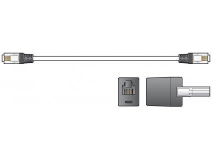 AV:link kabel telefonní 2x RJ11 6P4C samec s redukcí na BT431A, černý, 3m