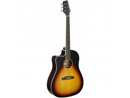 Stagg SA35 DSCE-VS LH, elektroakustická kytara typu Slope Shoulder Dreadnought, levoruká