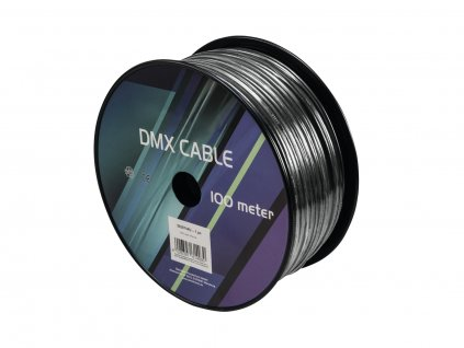 Kabel DMX 2x 0.22, 100m, černý