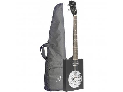 James Neligan CASK-PUNCHCOAL, elektroakustická rezofonická kytara typu Cigar Box