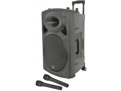 "QTX QR15PABT, mobilní 15"" zvukový systém MP3/BT/SD/USB/2x UHF"