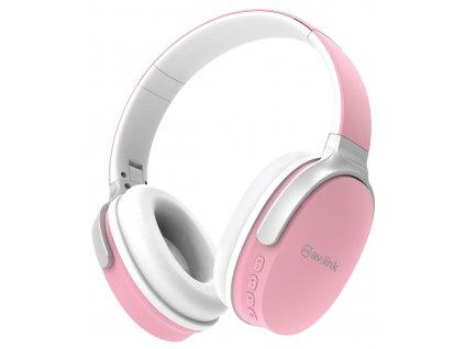 AV:link WBH-40 BLK, multimediální bezdrátová sluchátka, růžová