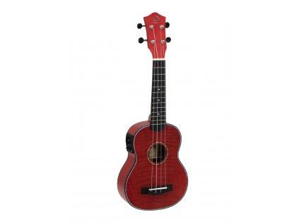 Dimavery UK-100, elektroakustické sopránové ukulele, červené